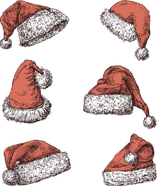 weihnachtsmann mützen - pelzmäntel stock-grafiken, -clipart, -cartoons und -symbole