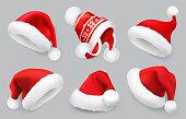 Santa Claus hat.Winter clothes. Christmas 3d realistic vector icon set
