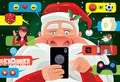 vector illustration of santa claus having fun with smartphone