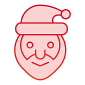 Santa claus head color icon. Smiling grandfather face symbol, gradient style pictogram on white background. Christmas holiday sign for mobile concept and web design. Vector graphics