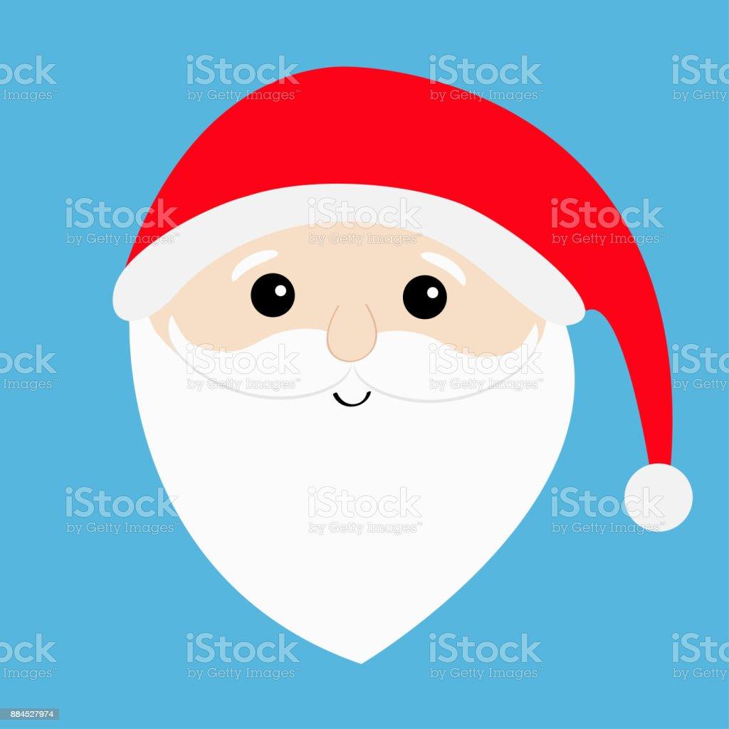 Ilustracion De Santa Claus Cara Cabeza Grande Barba Bigotes Cejas