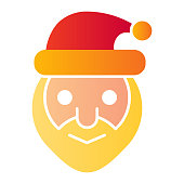 Santa claus head flat icon. Smiling grandfather face symbol, gradient style pictogram on white background. Christmas holiday sign for mobile concept and web design. Vector graphics