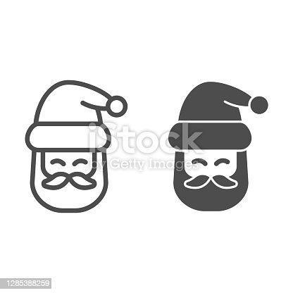 istock Santa Claus head line and solid icon, Christmas and New Year concept, festive character with beard and hat sign on white background, kind wizard icon in outline style for web design. Vector graphics. 1285388259