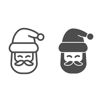 Santa Claus head line and solid icon, Christmas and New Year concept, festive character with beard and hat sign on white background, kind wizard icon in outline style for web design. Vector graphics.