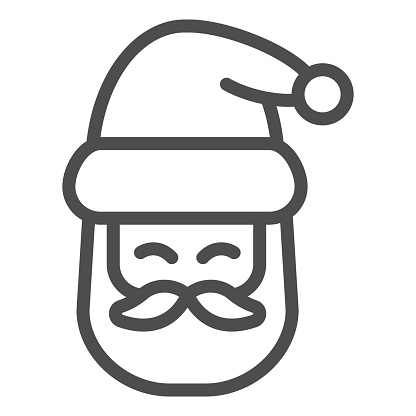 Santa Claus head line icon, Christmas and New Year concept, festive character with beard and hat sign on white background, kind wizard icon in outline style for web design. Vector graphics.