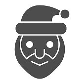 Santa claus head solid icon. Smiling grandfather face symbol, glyph style pictogram on white background. Christmas holiday sign for mobile concept and web design. Vector graphics