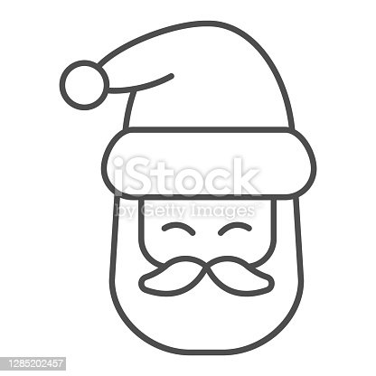 istock Santa Claus head thin line icon, Christmas and New Year concept, festive character with beard and hat sign on white background, kind wizard icon in outline style for web design. Vector graphics. 1285202457