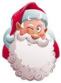 Santa Claus head winks. Merry Christmas fun vector cartoon illustration