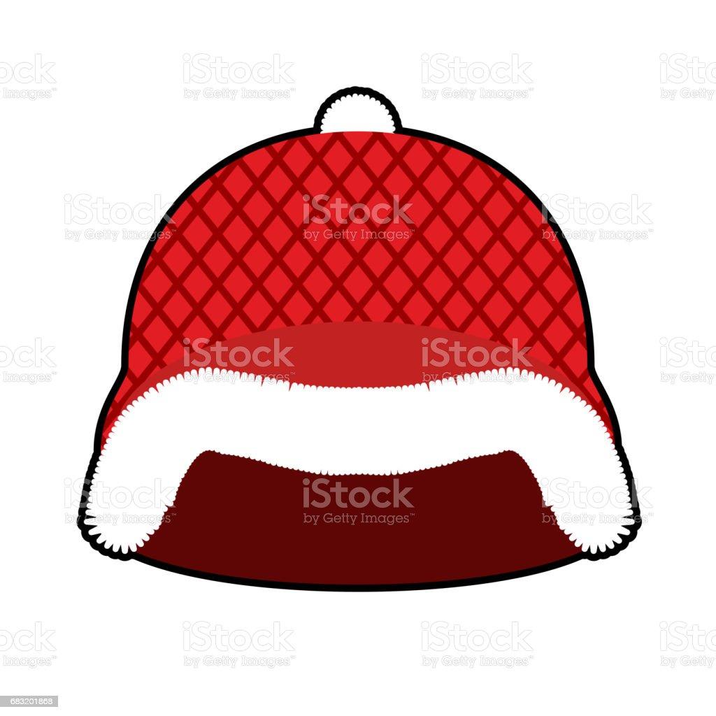 聖誕老人頭盔。紅色軍事堅硬帽子與毛皮。陸軍聖誕冬暖帽 免版稅 聖誕老人頭盔紅色軍事堅硬帽子與毛皮陸軍聖誕冬暖帽 向量插圖及更多 保護 圖片