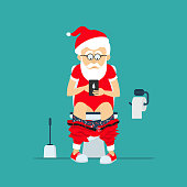 Santa Claus hipster sits on  toilet bowl with phone in hands. Toilet bowl, toilet paper and brush for toilet bowl. Santa Claus hipster in  toilet. Greeting Christmas card 2017