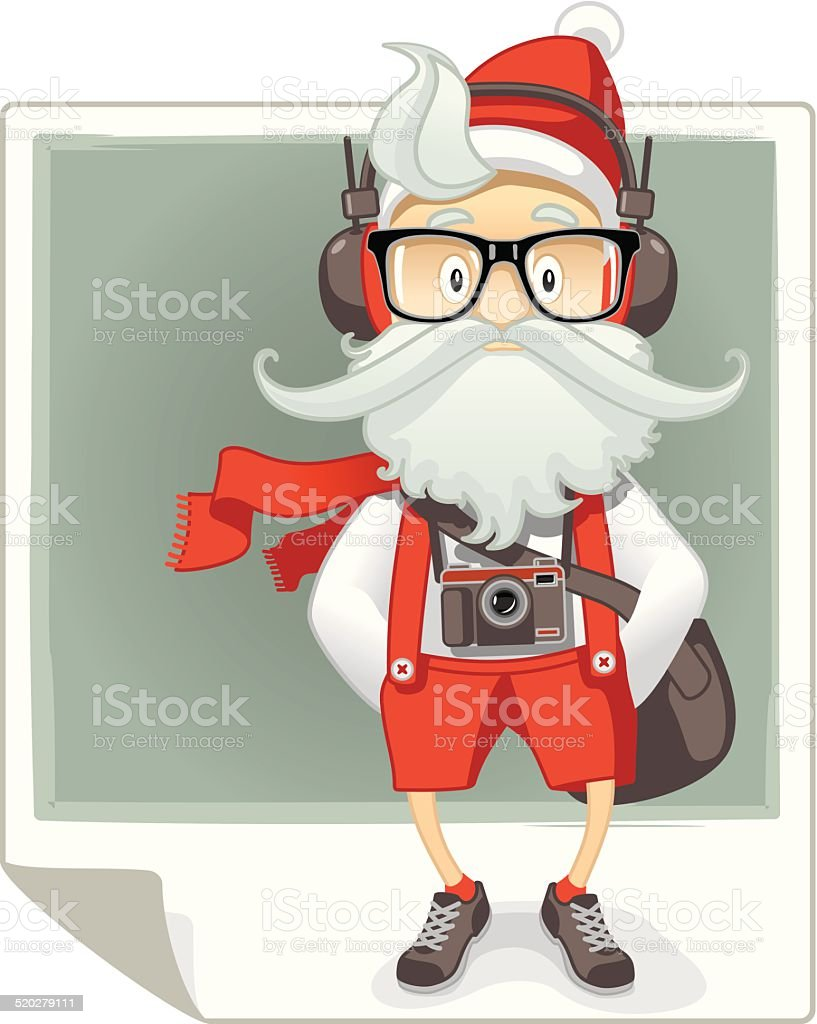 Weihnachtsmann Cartoon Hipsterstil Vektor Illustration 520279111 ...