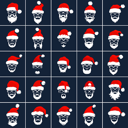 Santa Claus Hipster Style Icons