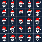 Santa Claus Hipster Style Red Hat Icons