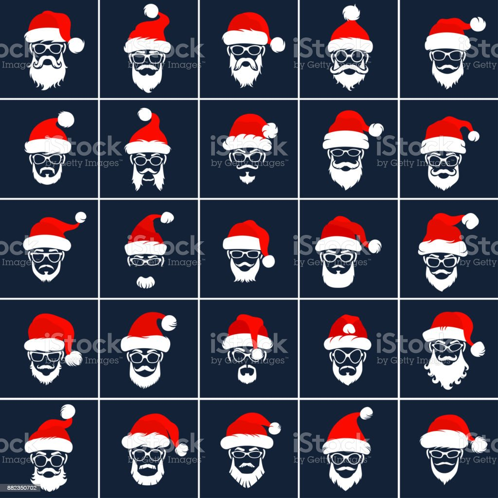 Santa Claus Hipster Style Icons vector art illustration