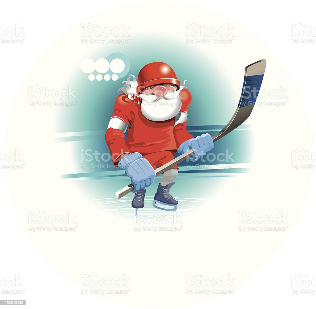 Santa Claus Hockey Player royalty-free stock vector art