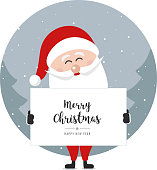 santa claus hold banner merry christmas greeting text winter circle landscape background