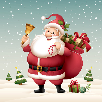 Santa Claus holding a bell with sack full of gifts