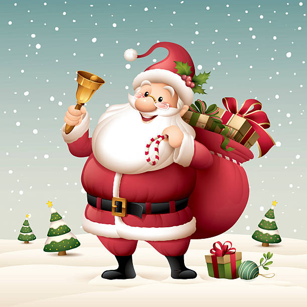 Santa Claus holding a bell with sack full of gifts vector art illustration