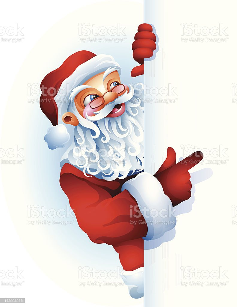 Santa Claus holding a blank sign royalty-free santa claus holding a blank sign stock vector art & more images of backgrounds