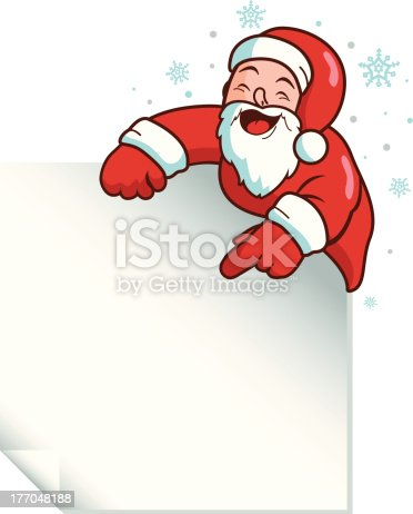 Vector Illustration of Santa Claus holding a blank sign. Page area is easily reshaped.