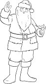 Vector illustration coloring page of Santa Claus smiling and ringing a bell and waving his hand for Christmas..