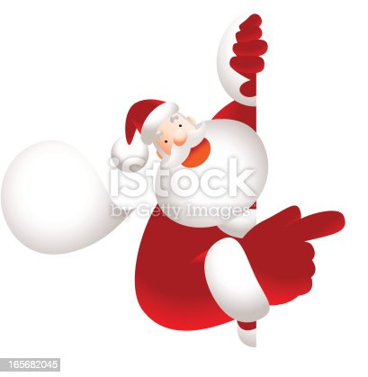 Vector illustration - Santa Claus holding blank sign showing something by index finger.