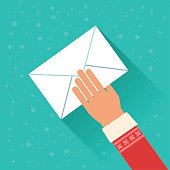 Santa Claus holding envelope with letter. Vector colorful illustration in flat style