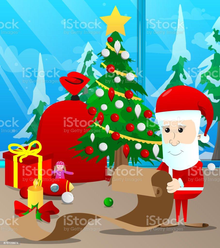 Santa claus holding long paper christmas letter wish list naughty or santa claus holding long paper christmas letter wish list naughty or nice list spiritdancerdesigns Gallery