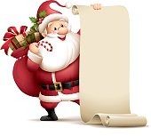 cartoon illustration of santa claus holding paper scroll for copy pace
