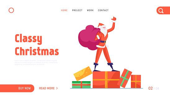 Santa Claus Holding Sack with Gifts Website Landing Page. Father Noel Stand Waving Hand. Winter Season Holidays Merry Christmas Happy New Year Wishes Web Page Banner. Cartoon Flat Vector Illustration