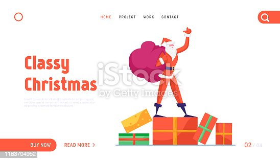 istock Santa Claus Holding Sack with Gifts Website Landing Page. Father Noel Stand Waving Hand. Winter Season Holidays Merry Christmas Happy New Year Wishes Web Page Banner. Cartoon Flat Vector Illustration 1183704952