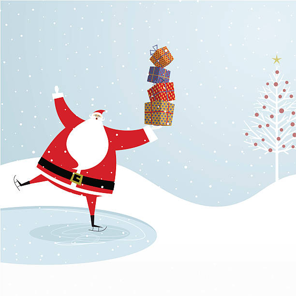 Santa Claus ice skating. Chistmas design http://i681.photobucket.com/albums/vv179/myistock/xma.jpg one senior man only illustrations stock illustrations