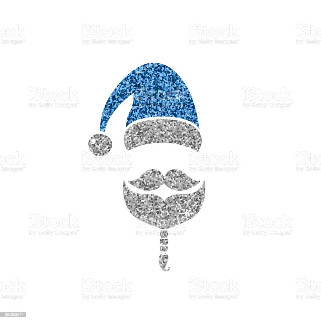 Icono De Santa Claus Sombrero Bigote Y Barba Diseño De Fiesta Azul Y ...