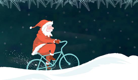 santa claus illustration on bike in winter landscape on chalkboard
