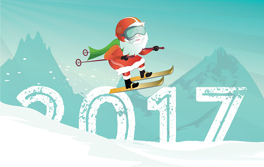 santa claus illustration with new year 2017 ski jump