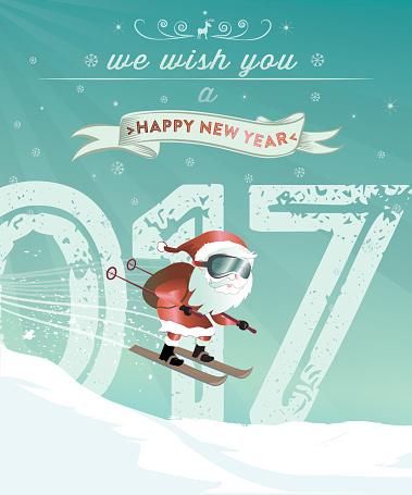 santa claus illustration with new year ski jump