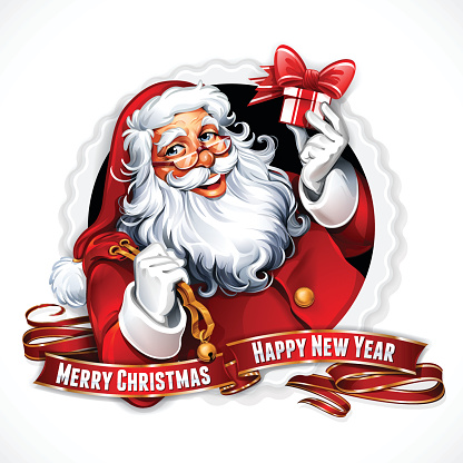 A Santa Claus image with Merry Christmas and happy new year