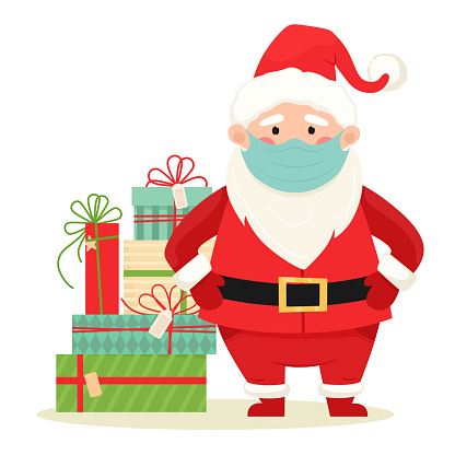 Santa claus in a protective face mask with gifts. Vector illustration in flat style.