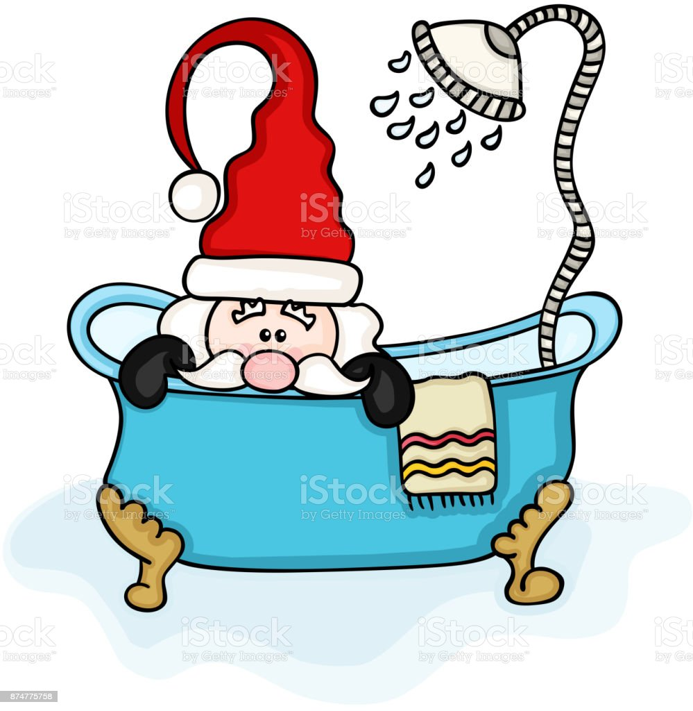 Santa Claus In Bathtub With Shower Stock Vector Art & More Images of ...