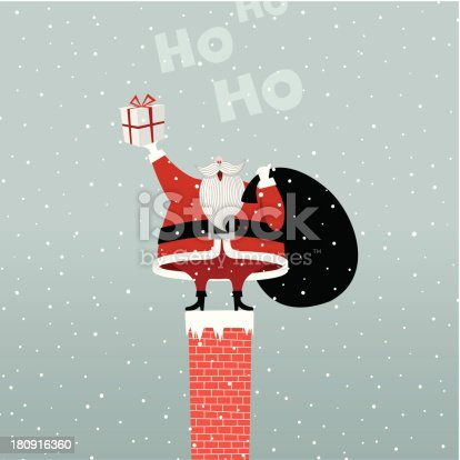 istock Santa Claus In Chimney retro gift present illustration vector myillo 180916360