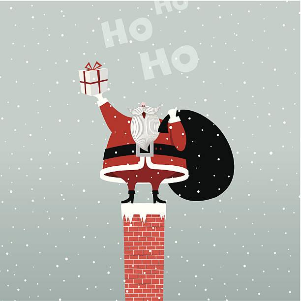 bildbanksillustrationer, clip art samt tecknat material och ikoner med santa claus in chimney retro gift present illustration vector myillo - skorsten