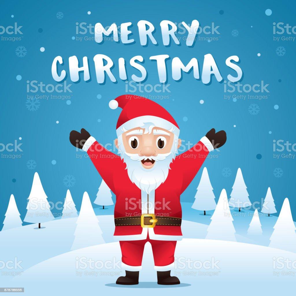 Santa Claus Mit Weihnachten Schnee Szene Stock Vektor Art und mehr ...