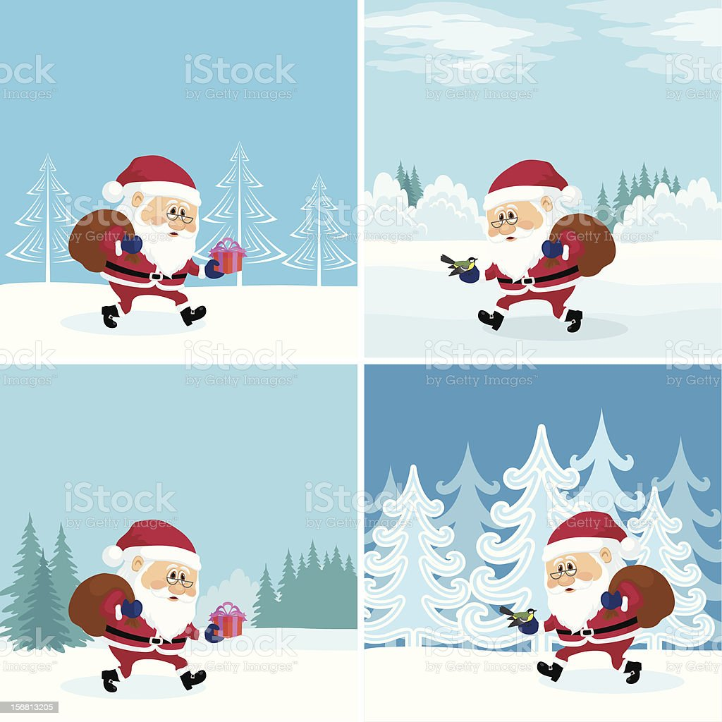 Santa Claus in forest, set royalty-free stock vector art