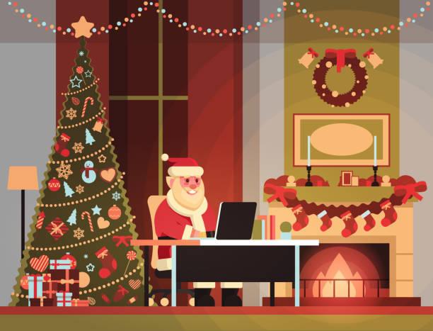santa claus im wohnzimmer dekoriert für weihnachten neujahrsurlaub mit laptop kiefer baum kamin nach hause innenraumkonzept flach - kaminverkleidungen stock-grafiken, -clipart, -cartoons und -symbole