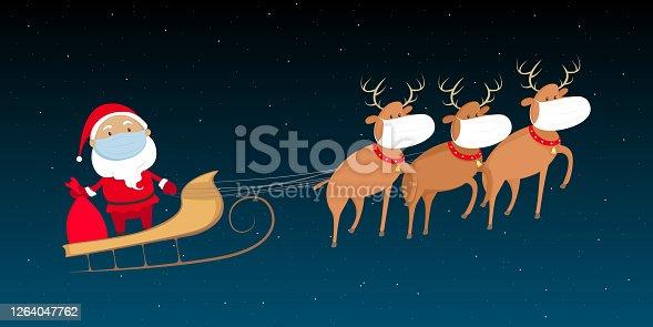 Santa Claus in medical mask flying on reindeer sled. Christmas 2020. Vector illustration