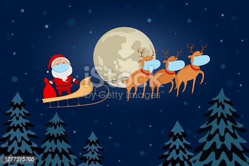 Santa Claus in medical mask flying on reindeer sleigh above forest. Cartoon. Vector illustration