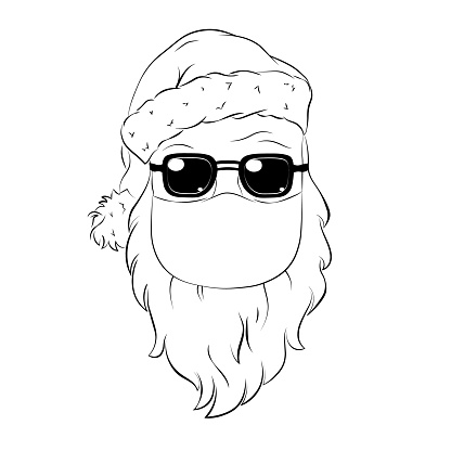 Santa Claus in medical mask. Vector template for banner, poster, advertising, t-shirt design.  Line art vector illustration for Christmas and New Year holiday.
