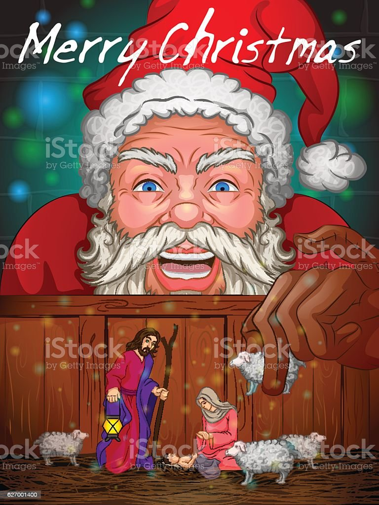 Santa Claus In Merry Christmas Holiday Background Stock Vektor Art ...