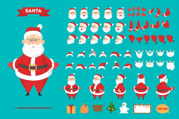 weihnachtsmann in roter kleidung zeichenset - nikolaus stock-grafiken, -clipart, -cartoons und -symbole