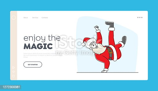 istock Santa Claus in Red Costume and Hat Dancing Brake Stand on One Arm Landing Page Template. Christmas Character Performing 1272300381